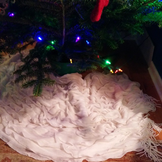 Skunked on the hunt for a tree skirt. Think this blanket will fill in nicely. I'll make one someday.